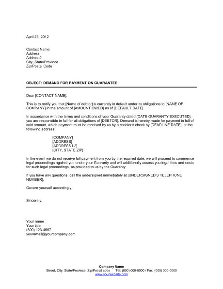 Demand Letter To Hospital Demand For Payment On Guarantees Template Sle Form Biztree