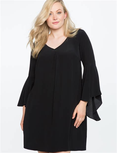 Sleeve V Neck Shift Dress v neck flare sleeve shift dress s plus size