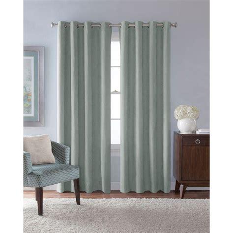 Solaris Outdoor Curtains Solaris Semi Opaque Mist Faux Suede Grommet Curtain 1 Panel 1627822 The Home Depot