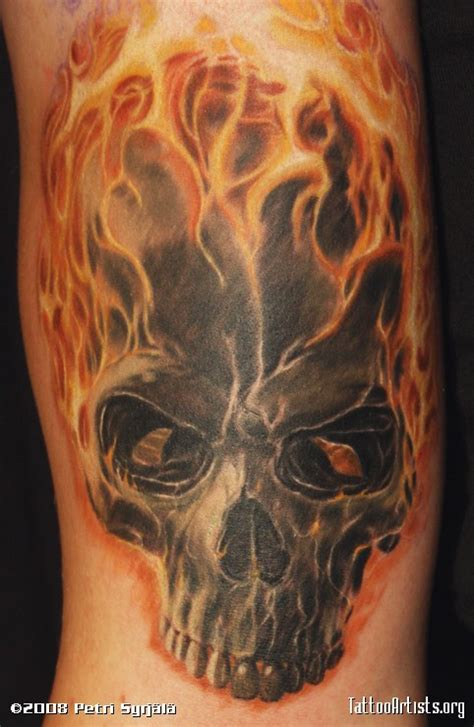 30 flame skull tattoos