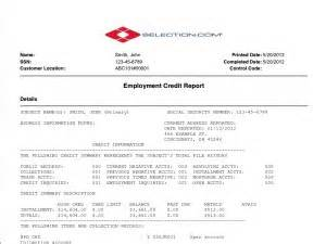 pre employment credit report selection