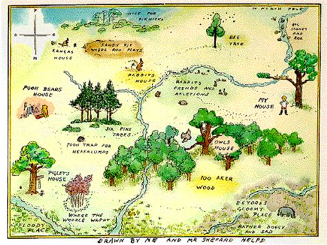 a river worth fourteen for navigating books mapcarte 14 365 100 aker wood by e h shepard 1924