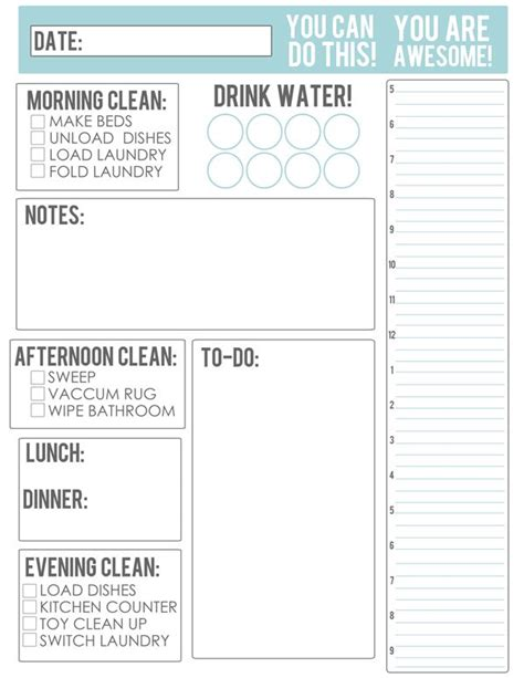 printable housekeeping planner 25 best ideas about daily schedule template on pinterest