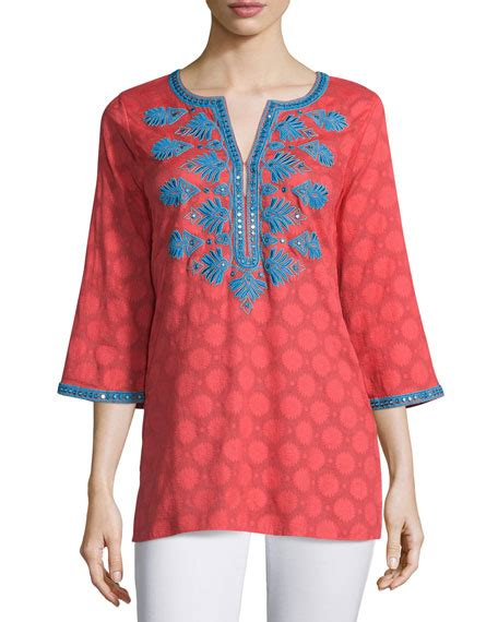 Tata Purifying Mask 7 5 Ml sulu collection dot print embroidered tunic coral