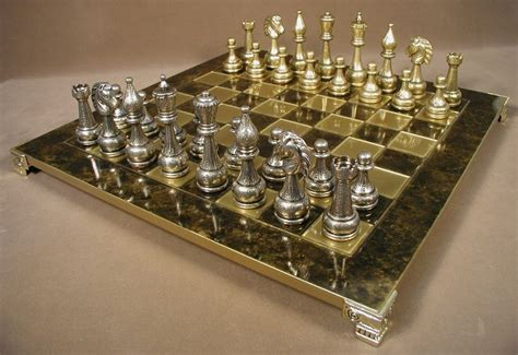 metal chess set staunton metal chess set with brass board cool home