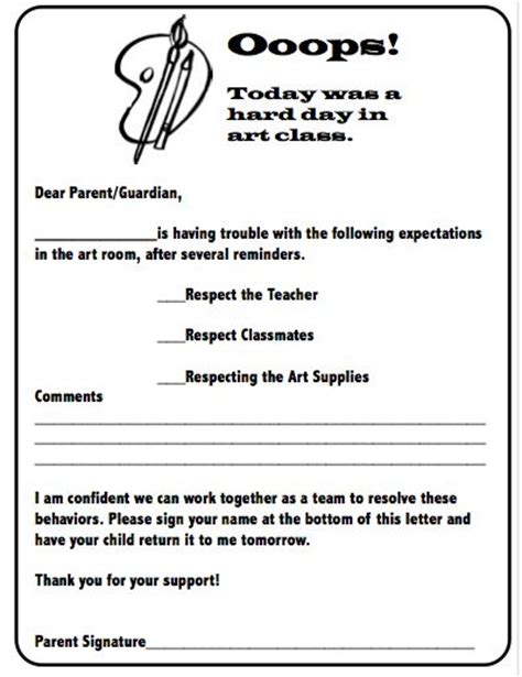 Parent Behavior Letter From Behavior Letter To Parents I Could Make One Of These For Each Quot Special Area Quot And