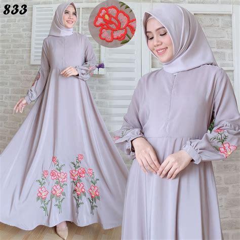 Gamis Puff Drapsey Grey Habis gamis maxi katun silky bordir c833 baju muslim modern