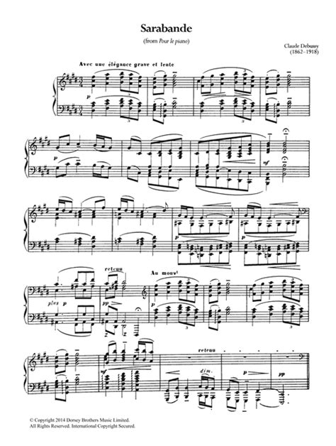 le piano sarabande from pour le piano sheet by claude debussy piano 119359