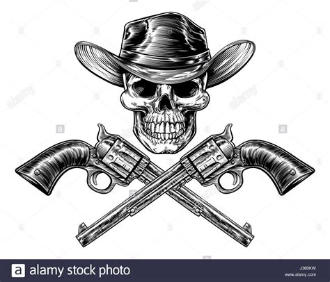 skull cowboy in hat and a pair of crossed gun revolver