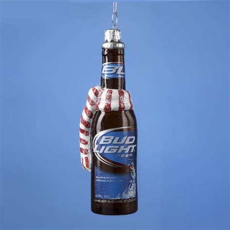 bud light beer bottle with red white scarf ornament item