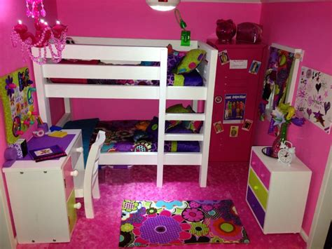american girl doll bedroom american girl doll house the pink bedroom we made the bunk bed sewed the bedding the