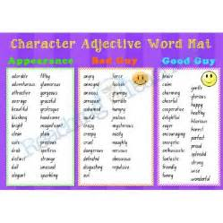 character adjective word mat writing resources