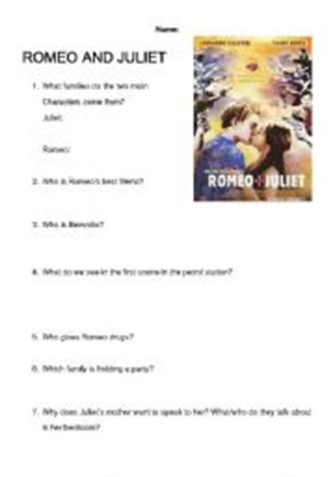 themes of romeo and juliet worksheet english teaching worksheets romeo and juliet