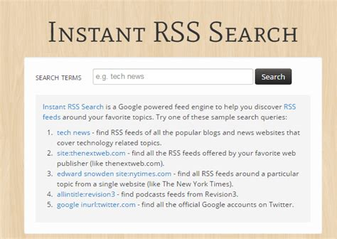 Instant Search Rss Search Engine With Instant Search Instant Rss Search