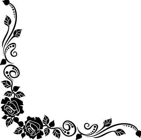 corner pattern png バラの画像 イラスト 白黒 モノクロ no 753 白黒 バラ 葉