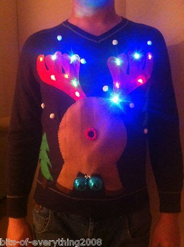 mens novelty light up rude randy reindeer christmas jumper
