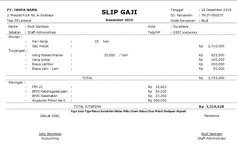 contoh slip gaji karyawan swasta lengkap beserta format