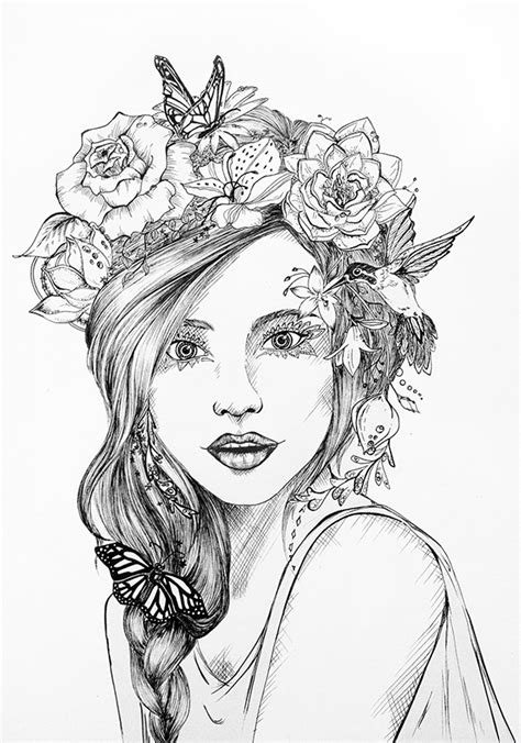 flower crown coloring page flower crown on behance
