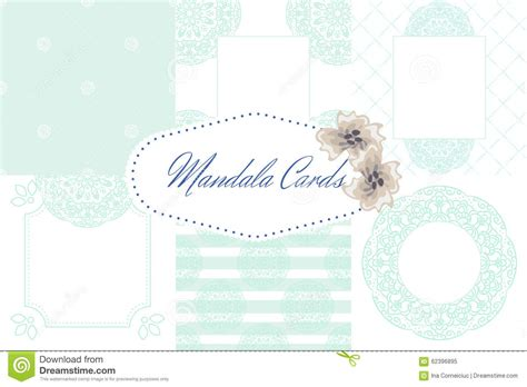 free pastel color card templates light blue mandala card template set background stock