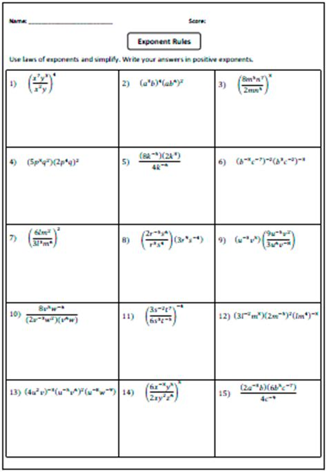 Product Rule Exponents Worksheet by Exponents Worksheets