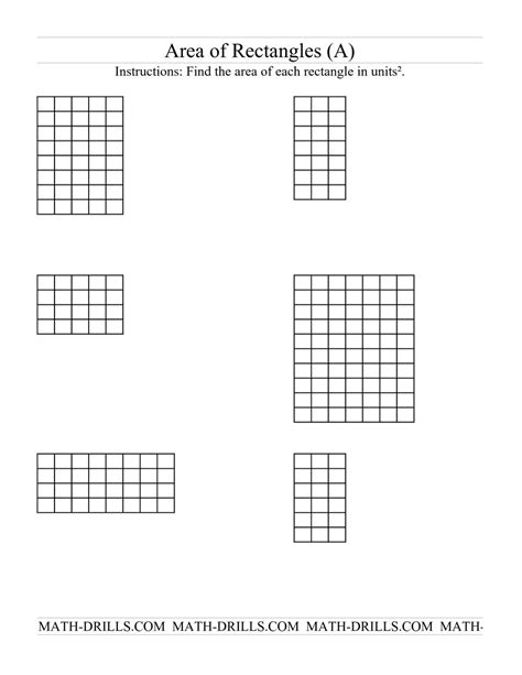 Area Of A Rectangle Worksheet by Area Of Rectangles Grid Form A