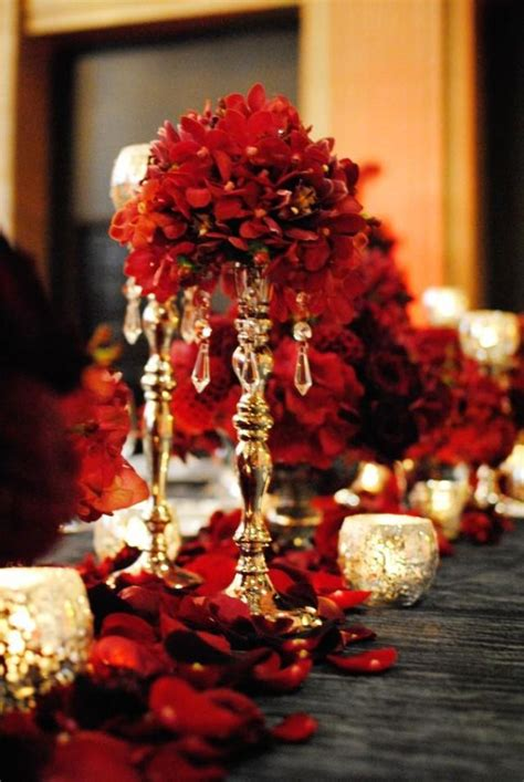 red wedding red and gold centerpiece 2070182 weddbook