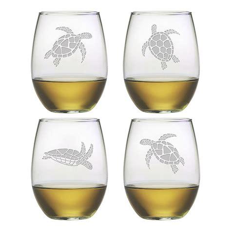 stemless wine sea turtle stemless wine glass assortment s 4