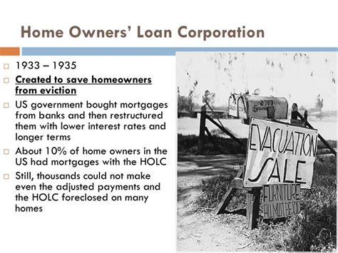 Home Owners Loan Corporation by Ppt The New Deal Powerpoint Presentation Id 3612472