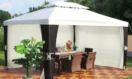 pavillon 3x4 mit seitenteilen luxus rattan pavillon 3 x 4 meter groupon goods