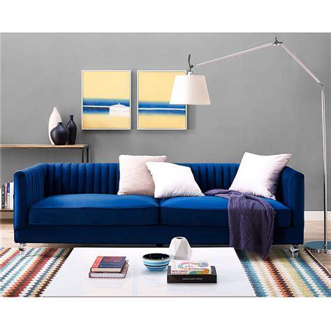 navy blue console modern sofas anatoli navy velvet sofa eurway