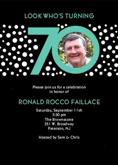 70th birthday party invitation ideas new party ideas