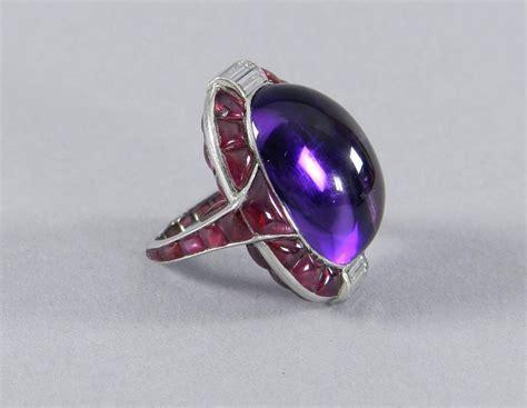 deco amethyst ring 1930s deco ruby cabochon amethyst platinum