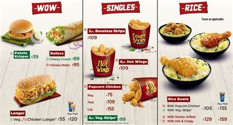 kfc buffet menu kfc menu menu for kfc park area kolkata zomato