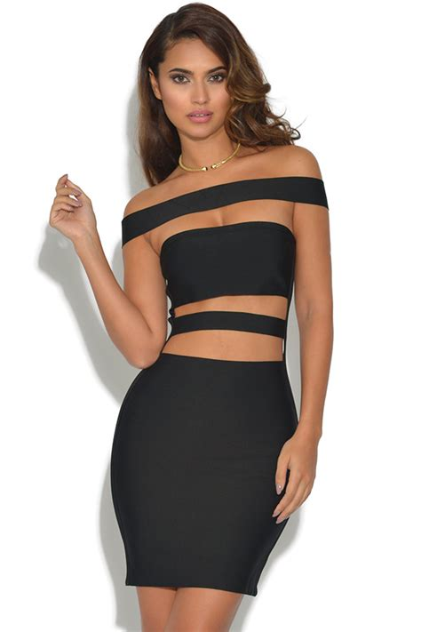 Dres Cutout vestry cut out detail strappy bandage dress in black