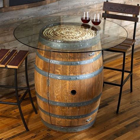 wine barrel coffee table glass top upcycled wood reclaimed rustic wine barrel pub table with clear glass top tempered also added two