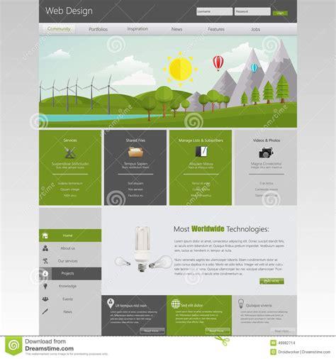 Modern Eco Website Template With Flat Eco Landscape Illustration Stock Vector Image 49982714 Landscape Architecture Website Templates
