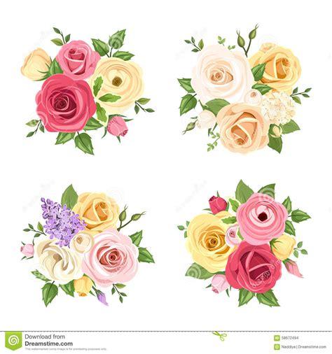 un insieme di fiori mazzi dei fiori variopinti un insieme di vettore di