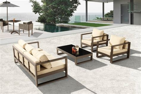 modern outdoor sofa set for 5 with 2 club chairs