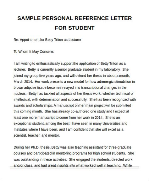 personal reference letter sle personal reference letter student 28 images personal