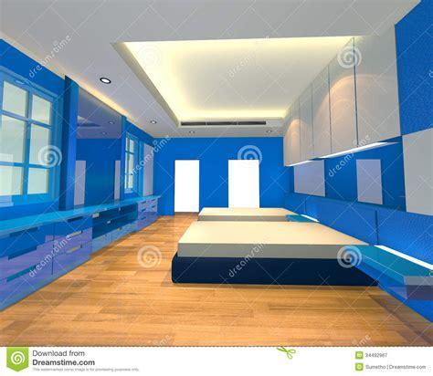 Interior Design Bedroom Blue Theme Royalty Free Stock