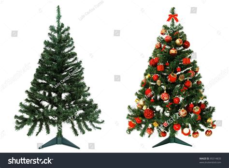 before and after christmas tree isolated on white