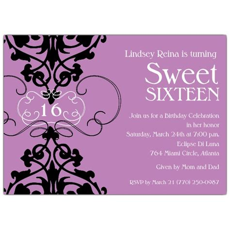 sweet 16 birthday invitation templates fleur lavender sweet 16 invitations paperstyle