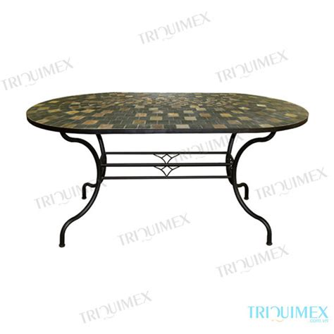 Oval Wrought Iron Patio Table Wrought Iron Patio Dining Table With Oval Slate Mosaic Top