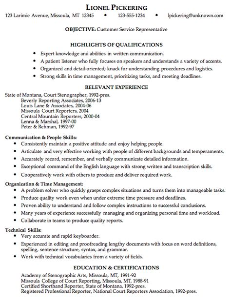 sle of customer service resume resume sles