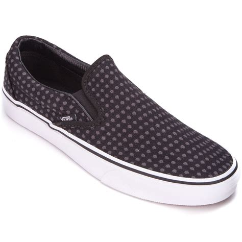 vans classic slip on womens shoes wool dots black white