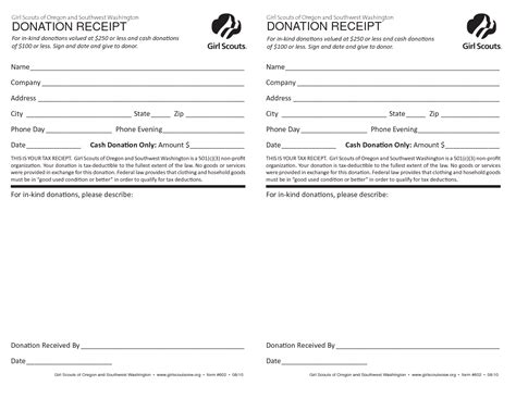 scout cookie receipt template best photos of donation receipt template donation