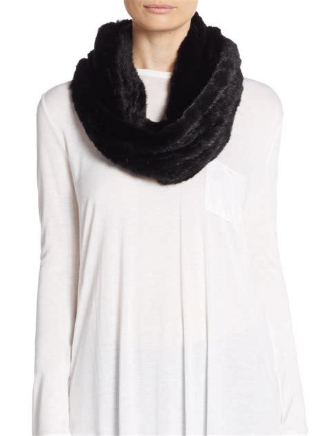saks fifth avenue knit mink fur infinity scarf in black lyst