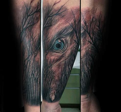 wolf eyes tattoo 100 forest designs for masculine tree ink ideas