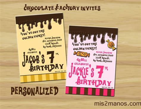 willy wonka inspired invitation party invitations