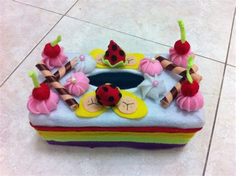 Strawberry Kain Flannel pin aneka kerajinan tangan cake on